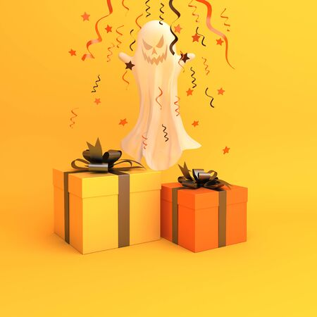 Ghost, confetti and gift box on orange background, copy space text area. Design creative concept of happy halloween celebration holiday. 3D rendering illustration.