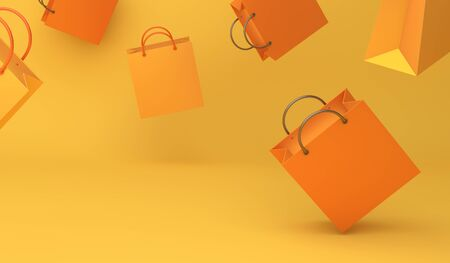 Empty orange color shopping bag on the yellow background, copy space text, Design creative concept for halloween day or autumn sale event. 3D rendering illustration.