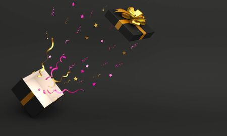 Opened gift box with gold ribbon and confetti in the studio lighting, copy space text, flat lay. Design creative concept for black friday sale event. 3D rendering illustration. 版權商用圖片