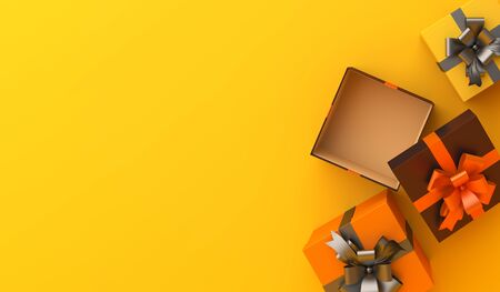 Gift box flat lay on orange background, copy space text area. Design creative concept of happy halloween celebration holiday. 3D rendering illustration. 版權商用圖片
