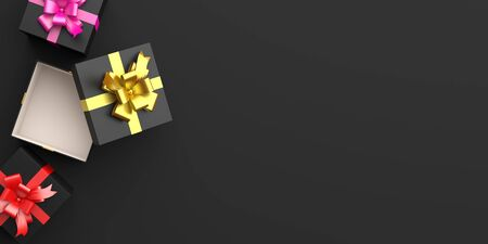 Gift box with gold, pink, red ribbon in the studio lighting, copy space text, flat lay. Design creative concept for black friday sale event. 3D rendering illustration.