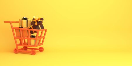 Happy Halloween holiday celebration design creative concept, shopping trolley cart and gift box on orange background. 3D rendering illustration.