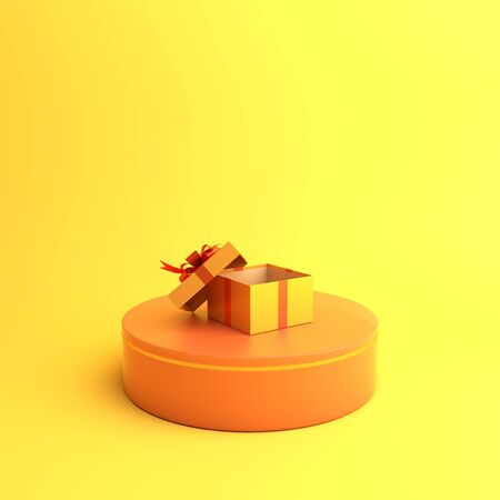 Happy Halloween holiday celebration design creative concept podium display and opened gift box on orange background. 3D rendering illustration. Stock Photo