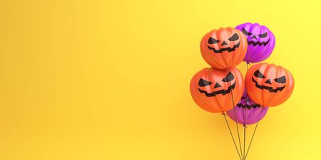 Happy Halloween design creative concept celebration holiday, Pumpkin balloons on orange background, copy space text area. 3D rendering illustration. Stock Photo