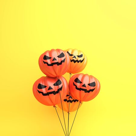 Happy Halloween design creative concept celebration holiday, Pumpkin balloons on orange background, copy space text area. 3D rendering illustration. Stok Fotoğraf