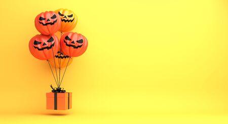 Happy Halloween design creative concept celebration holiday, pumpkin balloon, gift box on orange background. 3D rendering illustration. 版權商用圖片