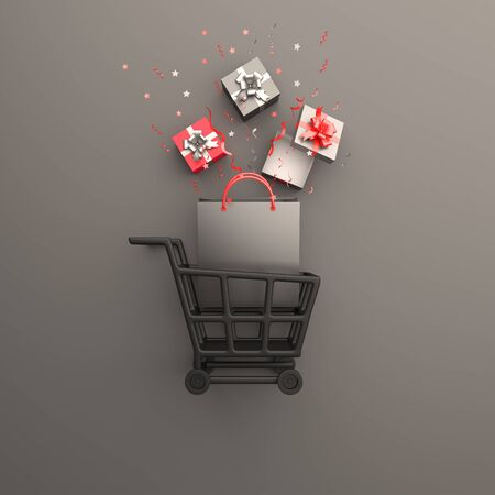 Black friday sale event design creative concept, trolley cart, shopping bag, gift box, confetti on black background studio lighting, copy space text area. 3D rendering illustration.