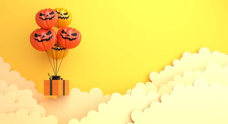 Happy Halloween design creative concept celebration holiday, pumpkin balloon, gift box and clouds on orange background. 3D rendering illustration.