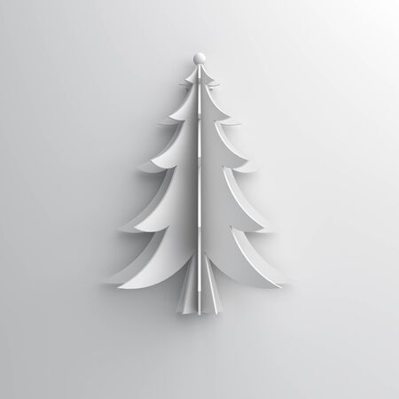 Winter abstract background, fir tree art paper cut origami on white. Flat lay, 3D rendering illustration.