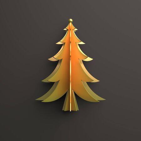 Gold spruse, fir tree art paper cut origami on dark blak background. Flat lay, 3D rendering illustration.
