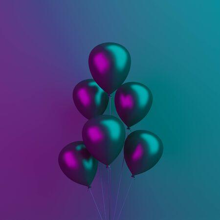 Black Friday abstract design creative concept, balloons on black blue purple background, vibrant color, neon flourescent. background. 3D illustration. 版權商用圖片