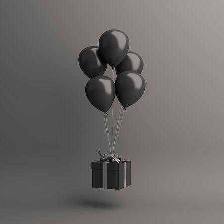 Black friday sale event design creative concept, flying balloon, gift box on dark background. 3D rendering illustration.