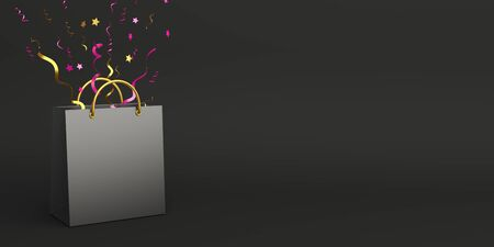 Black friday sale event design creative concept, shopping bag with gold pink confetti on black background studio lighting, copy space text area. 3D rendering illustration.