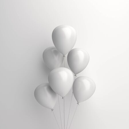 Winter abstract, design creative concept, flying balloon on white background . Copy space text area. 3D rendering illustration.