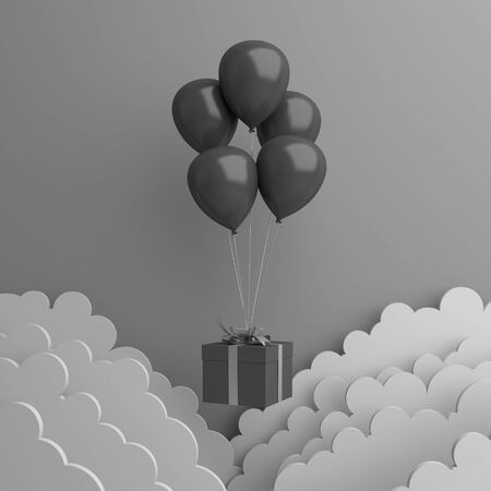 Black friday sale event design creative concept, flying balloon, gift box, paper cut cloud on dark background. 3D rendering illustration.