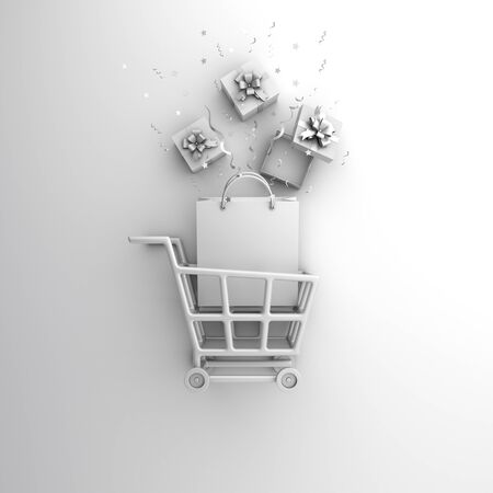 Winter abstract mock up design minimal creative concept, trolley cart, shopping bag, gift box, confetti on white background. Copy space text area. 3D rendering illustration.