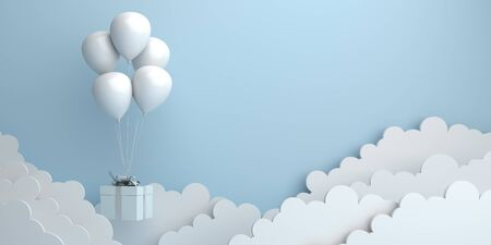 Winter abstract background, Design creative concept, flying balloon, gift box, cloud on blue pastel. Copy space text. 3D rendering illustration.