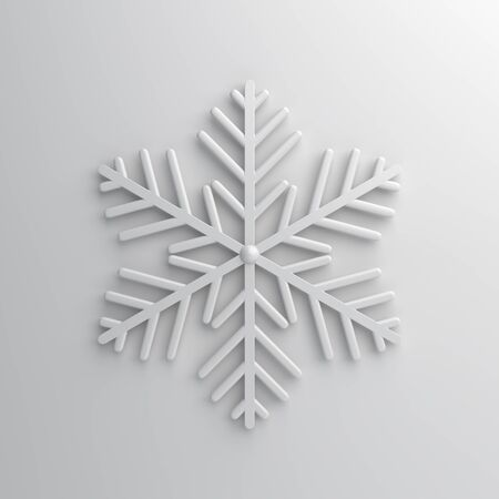 Winter abstract design creative concept, snow icon on white background. 3D rendering illustration.