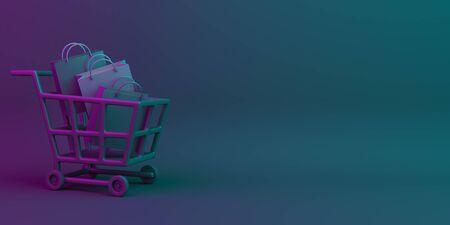 Black friday sale event design creative concept, trolley cart, shopping bag on black blue purple neon gradient background studio lighting, copy space text area. 3D rendering illustration.