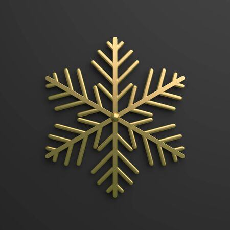 Winter abstract design creative concept, gold snow icon on black background. 3D rendering illustration.
