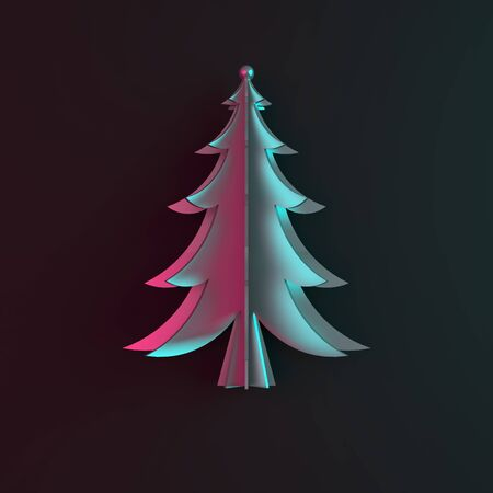 Blue pink gardient silver chrome spruce, fir tree art paper cut origami on dark black background. Flat lay, 3D rendering illustration. 版權商用圖片