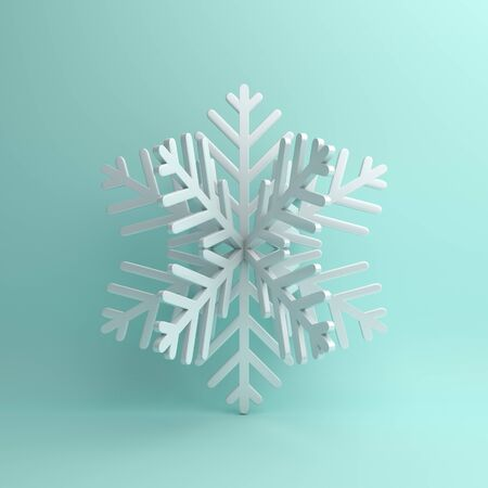 Winter abstract design creative concept, white snow icon on blue pastel background. 3D rendering illustration. 版權商用圖片