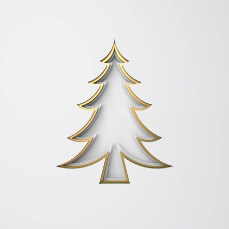Winter abstract, design creative concept, gold pine, spruce, fir tree art paper cut origami on white background. Flat lay, 3D rendering illustration.