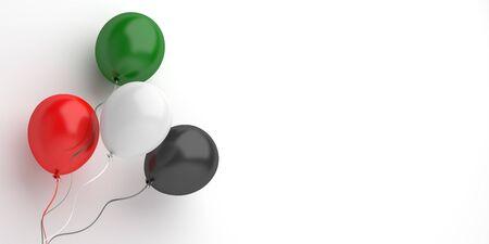 Concept créatif de conception du jour de l'indépendance pour les Émirats arabes unis, Émirats arabes unis, Koweït, Palestine, Jordanie, Soudan. Ballon volant de couleur rouge, blanche, verte, noire sur fond d'éclairage de studio. illustration 3D.
