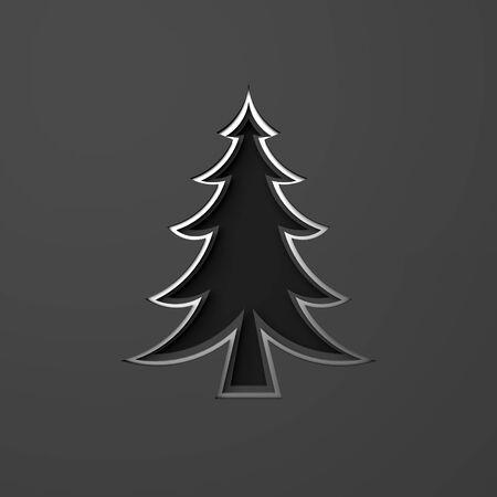 Silver chrome spruce, fir tree art paper cut origami on dark black background. Flat lay, 3D rendering illustration.