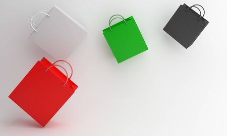 Independence day design creative concept for United Arab Emirates UAE, Kuwait, Palestine, Jordan, Sudan. Flying shopping bag red, white, green, black color on background. 3D illustration. Stock Photo