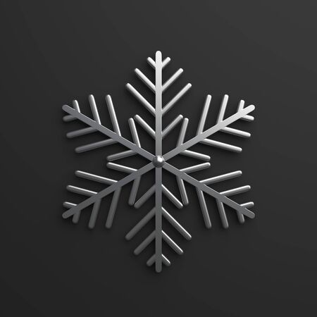 Winter abstract design creative concept, silver chrome snow icon on black background. 3D rendering illustration. 版權商用圖片