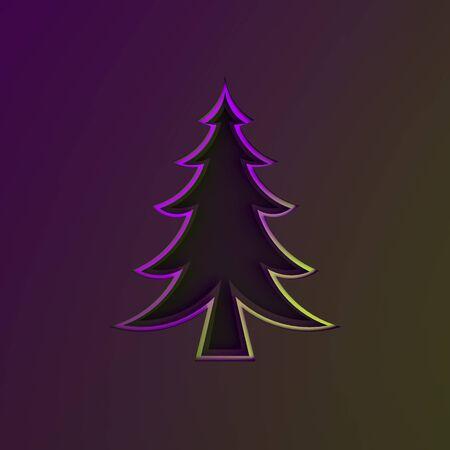 Purple violet green gradient silver chrome spruce, fir tree art paper cut origami on dark black background. Flat lay, 3D rendering illustration.