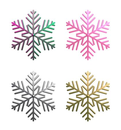 Winter abstract design creative concept, collection of gradient, pink,silver chrome, gold snow icon isolated on white background. 3D rendering illustration. 版權商用圖片