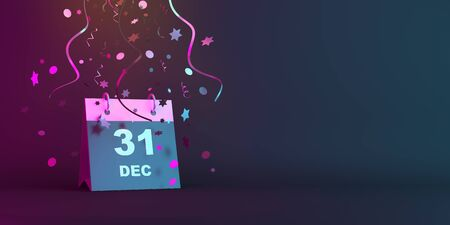 Happy New Year eve design creative concept, December 31 calendar and glittering confetti on blue pink gradient background. Copy space text area, 3D rendering illustration.