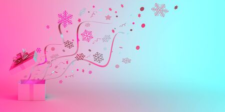 Winter creative concept, opened gift box and glittering confetti on blue pink pastel gradient background. Copy space text area, 3D rendering illustration.