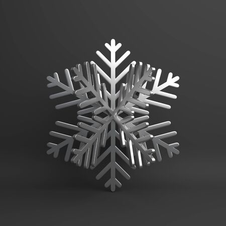 Winter abstract design creative concept, silver chrome snow icon on black background. 3D rendering illustration. Zdjęcie Seryjne