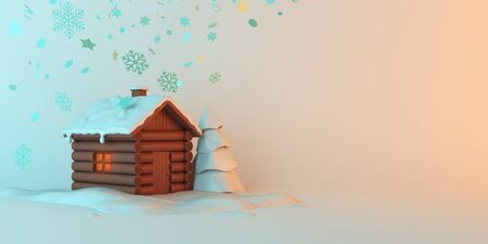Winter abstract background design creative concept, cartoon wooden house, snow, pine, spruce, fir tree on blue pastel background. Copy space text wide area. 3D rendering illustration.
