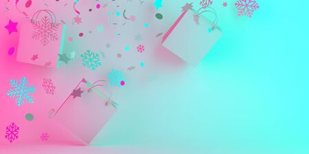 Winter creative concept, flying shopping bag and glittering confetti on blue pink pastel gradient background. Copy space text area, 3D rendering illustration. 版權商用圖片