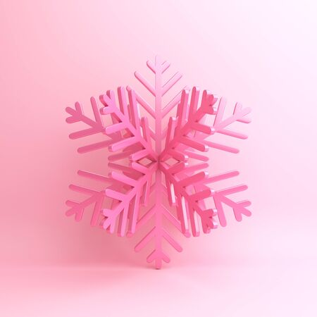 Winter abstract design creative concept, snow icon on pink background. 3D rendering illustration.