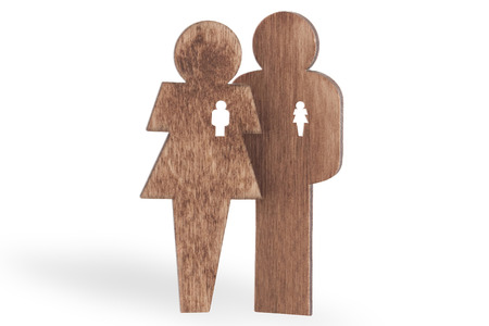sweethearts man and woman wooden, isolated on white background Stock Photo