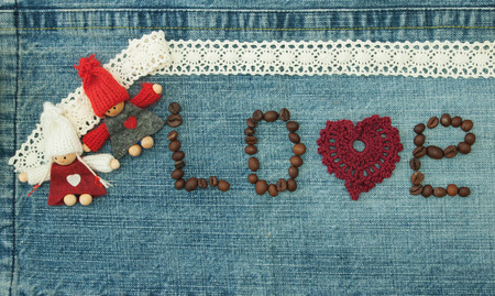 Valentine, greeting card with knitted red heart Фото со стока