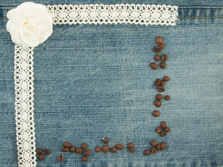Valentine background, greeting card with coffee beans, little white rose.