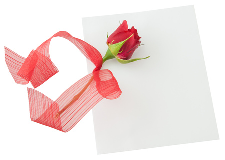 Blank, note, greeting card, empty white card, valentine, little red rose with red ribbon. Isolated white background Фото со стока