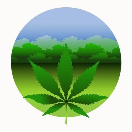 Cannabis leaf on a background of blue sky. Green cannabis on marijuana field farm. Legalization of marijuana. Medical marijuana. Vector
