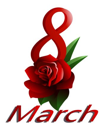 8 March Ä°nternational Women's Day. Template greeting card with red rose. Banco de Imagens - 137837218