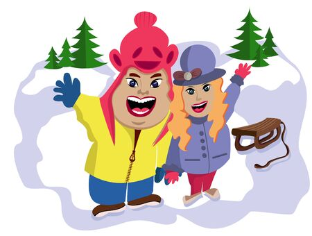 Happy married couple on a winter walk in the forest. Waving hand. Banco de Imagens - 144694759