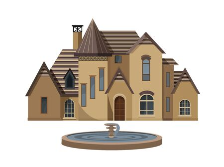 Chateau style house. Large house with a fountain.