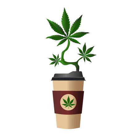 Green hemp branch grows from a cardboard cup of coffee. Banco de Imagens - 140441928