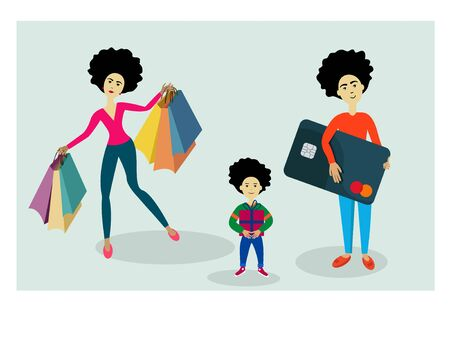 Dad mom and son made shopping at the mall.Vector illustration in flat style. A man holds a credit card in his hands. Ilustração