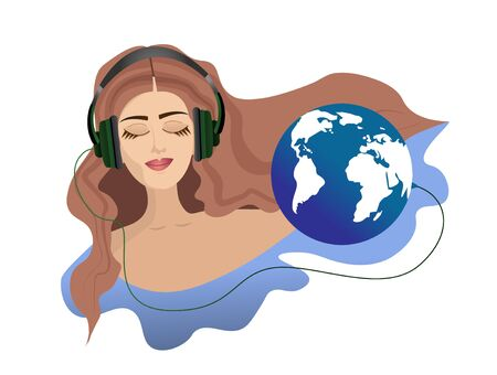 A girl with closed eyes in headphones listens to the sounds of planet Earth. Banco de Imagens - 140545510